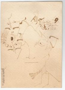 Dibuix de Pepe Sales (sang sobre paper de barba). Aquesta il·lustració havia de ser la portada de Carrer d'hivern.